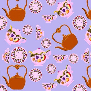 Tea Time: Fruit And Leaves Pattern On Teapot, Teacup, Copper Teakettle, And Plate