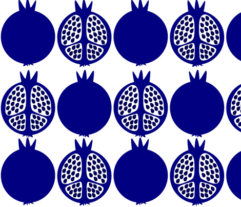 Blue Pomegranates by LiLoPe fabric by lilope on Spoonflower - custom fabric