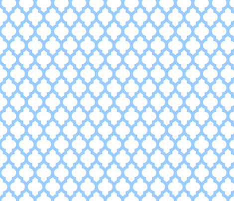 Quatrefoil Lattice - baby blue on white fabric by spacefem on Spoonflower - custom fabric