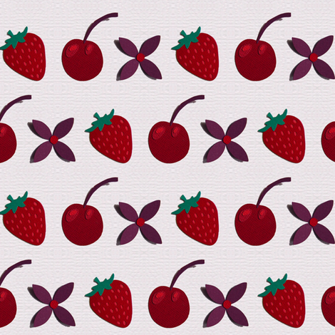 Cherries, Strawberries and flowers! fabric by coggon_(roz_robinson) on Spoonflower - custom fabric