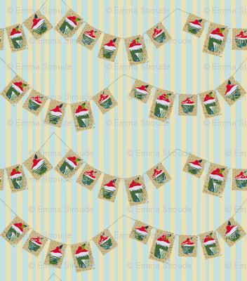Cherry Bun Bunting (on stripes)