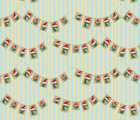 Cherry Bun Bunting (on stripes) fabric by wednesdaysgirl on Spoonflower - custom fabric