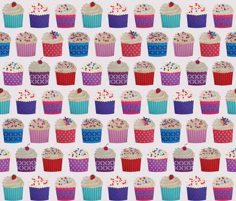 and a cherry on top - cupcakes on white paper fabric by coggon_(roz_robinson) on Spoonflower - custom fabric