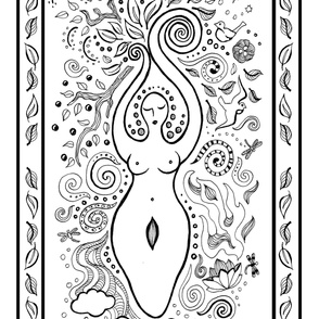 Color Your Own Goddess Large Panel