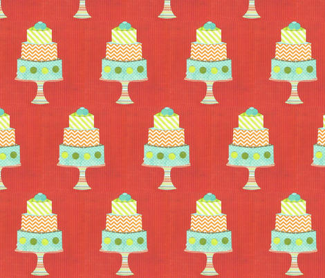 cake layered red fabric by krihem on Spoonflower - custom fabric