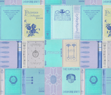 Madame Fancypantaloons' Instant Library Bindings & Covers ~ Blue fabric by peacoquettedesigns on Spoonflower - custom fabric