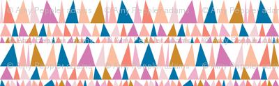 Christmas Tree Farm* (Pinks & Blue) || triangles stripes geometric abstract trees holiday