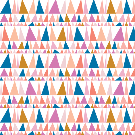 Christmas Tree Farm* (Pinks & Blue) || triangles stripes geometric abstract trees holiday fabric by pennycandy on Spoonflower - custom fabric