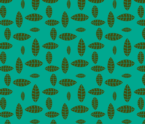 Jungle Leaves green, turquoise fabric by flyingfish on Spoonflower - custom fabric