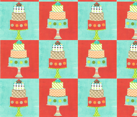 layered cake checks fabric by krihem on Spoonflower - custom fabric