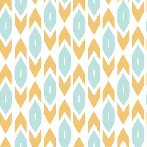 Blue and Yellow Ikat Rows