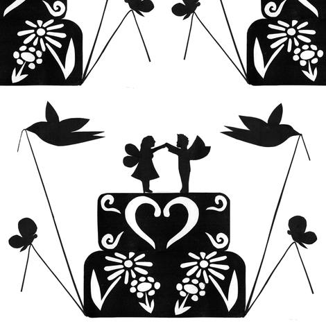 Fairy wedding cake fabric by celebrindal on Spoonflower - custom fabric