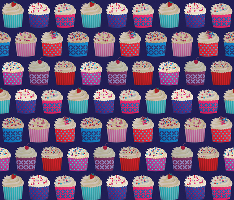 and a cherry on top - cupcakes on navy paper fabric by coggon_(roz_robinson) on Spoonflower - custom fabric