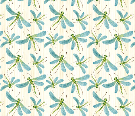 Dragonflies Natural Strie  fabric by gollybard on Spoonflower - custom fabric