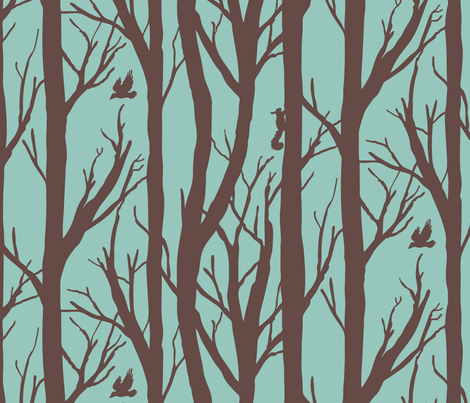 Brown and turquoise forest habitat fabric by pixelmech on Spoonflower - custom fabric