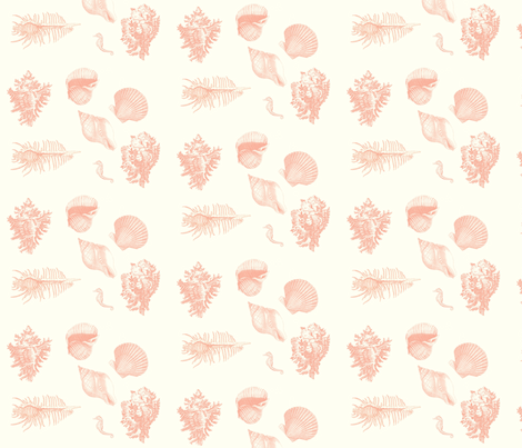 shells_delft_coral fabric by hookedbyk on Spoonflower - custom fabric