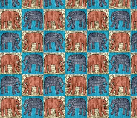 Elephants x 4 fabric by linsart on Spoonflower - custom fabric