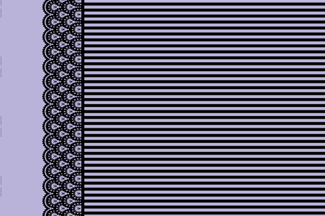 Black Skull and Crossbones Border on Lavender with 1/2 inch stripe fabric by littlemisscrow on Spoonflower - custom fabric