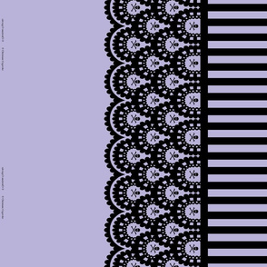 Black Skull and Crossbones Border on Lavender with 1/2 inch stripe