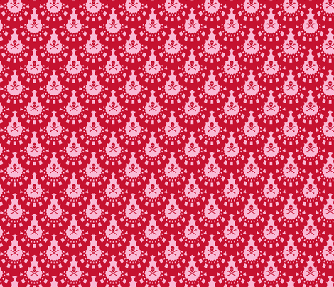 Skull and Crossbones Lace - Red on Pink fabric by littlemisscrow on Spoonflower - custom fabric