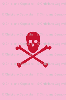 Red Skull and Crossbones on Pink