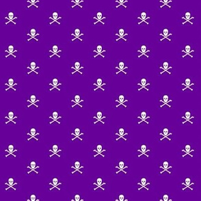 White Skull and Crossbones on Purple