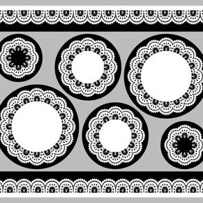 cut & sew Skull and Crossbones Ruffles - White on Black