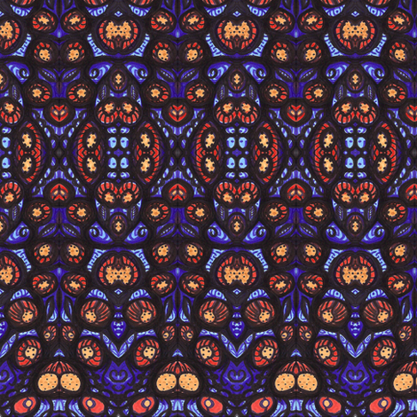 flowers leaves pods in blue fabric by kcs on Spoonflower - custom fabric