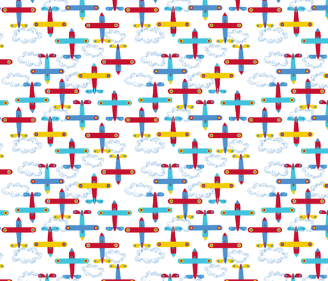 les avions de Léon M fabric by nadja_petremand on Spoonflower - custom fabric