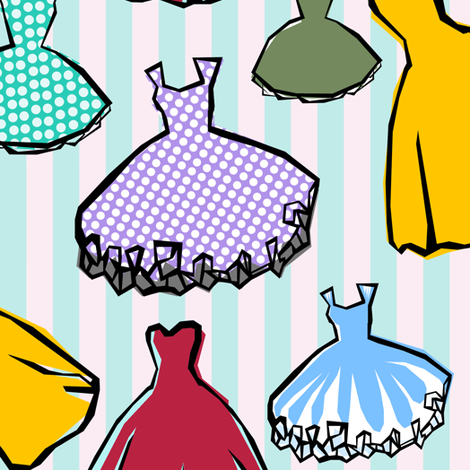 party_dresses fabric by lusykoror on Spoonflower - custom fabric