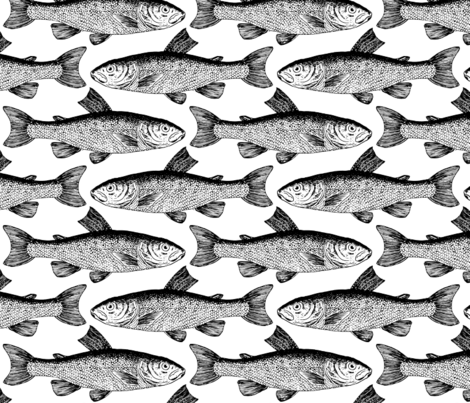 Vintage fish pattern fabric milalala spoonflower for Fish pattern fabric