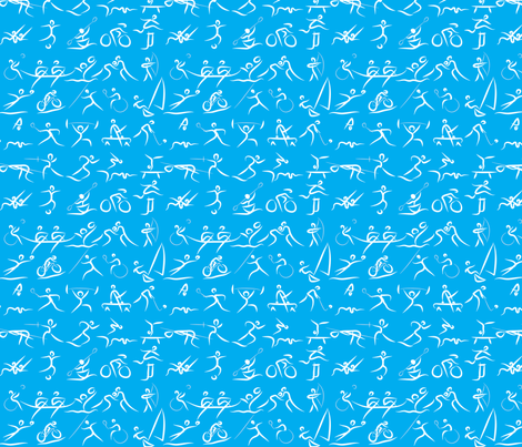 Olympic Sports White on Blue fabric by ebygomm on Spoonflower - custom fabric