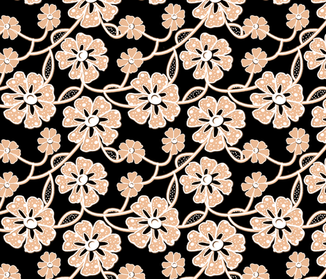 50s Fabrics Lace White & Pale Burnt Orange fabric by nezumiworld on Spoonflower - custom fabric