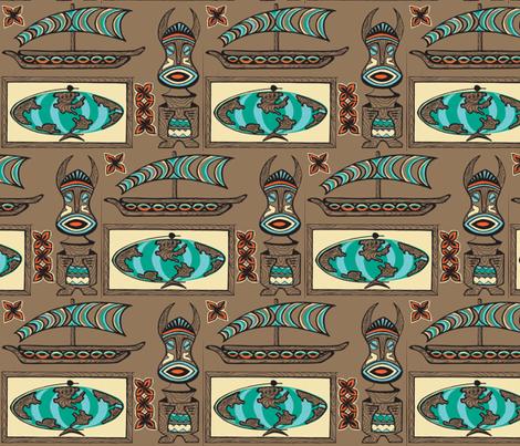 International Basement Traveler in weathered wood fabric by sophista-tiki_by_dawn_frasier on Spoonflower - custom fabric