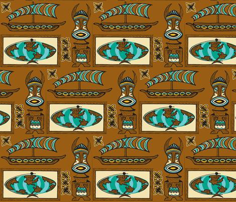 International Basement Traveler in waxed wood- fabric by sophista-tiki_by_dawn_frasier on Spoonflower - custom fabric