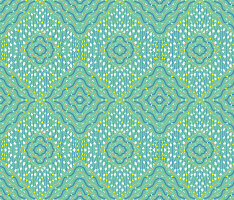 abstract2-diamond-GRN-dkbl-sahara-wht-yell fabric by mina on Spoonflower - custom fabric