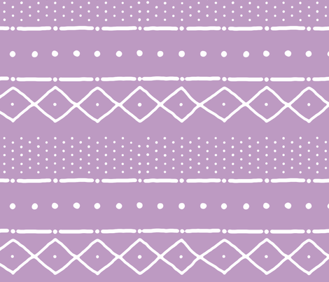 Mudcloth II (Petite) in white on warm violet fabric by domesticate on Spoonflower - custom fabric