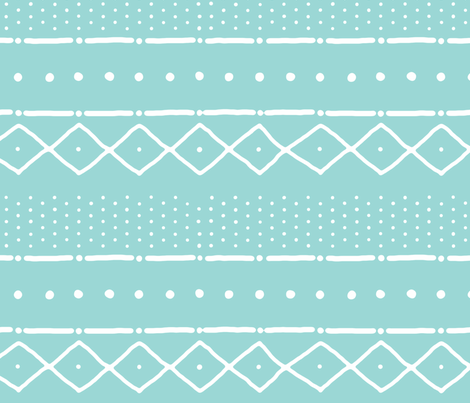 Mudcloth II (Petite) in white on turquoise fabric by domesticate on Spoonflower - custom fabric