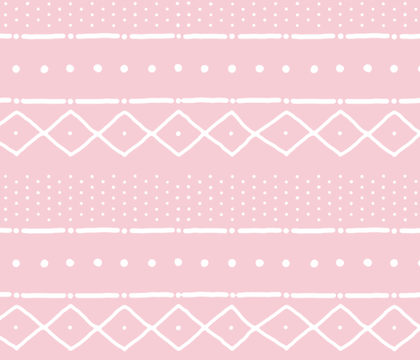 Mudcloth II (Petite) in white on pink fabric by domesticate on Spoonflower - custom fabric