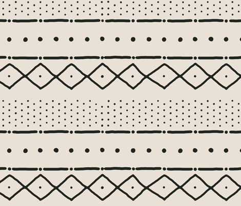 Mudcloth II (Petite) in black on bone fabric by domesticate on Spoonflower - custom fabric