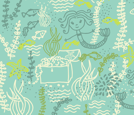 cute mermaids pattern fabric by anastasiia-ku on Spoonflower - custom fabric