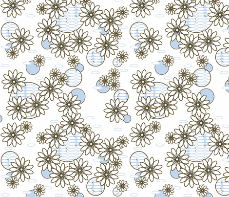 Daisy Chain Blue fabric by designedtoat on Spoonflower - custom fabric