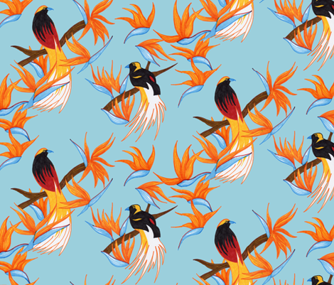 Birds of Paradise on Blue fabric by evenspor on Spoonflower - custom fabric