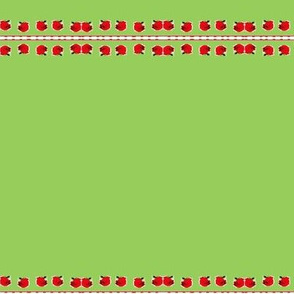 Red Roses on Green  Fabric on July 12, 2012