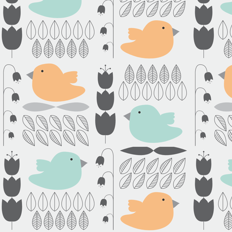 Birds and Flowers fabric by polyesterdress on Spoonflower - custom fabric