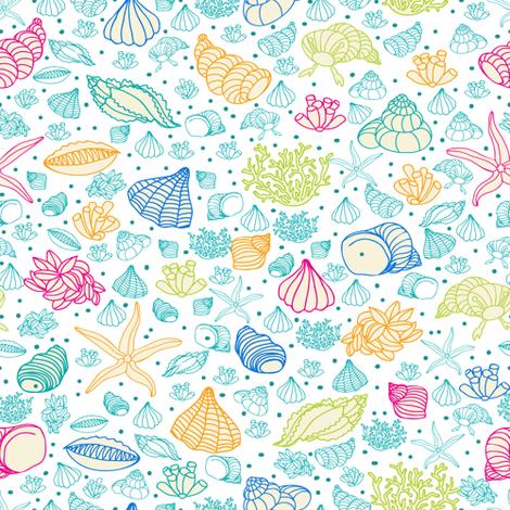 seashells, starfish and algae fabric by innaogando on Spoonflower - custom fabric