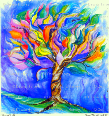 Tree of Life Watercolor_Fat Quarter-ed