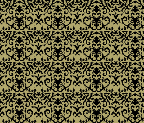 Damask in Gold and Black fabric by evenspor on Spoonflower - custom fabric