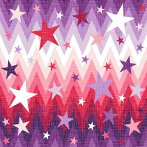 Christmas Stars Purple + Red