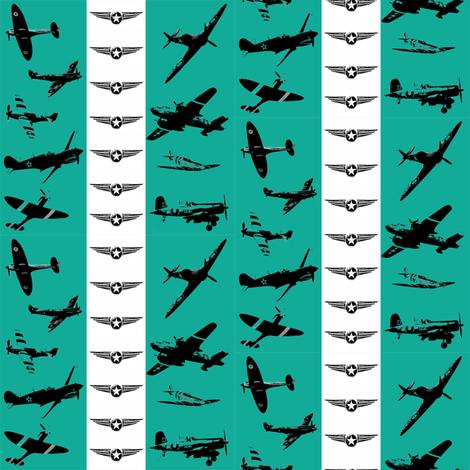 Retro Aviator Teal Stripe fabric by smuk on Spoonflower - custom fabric
